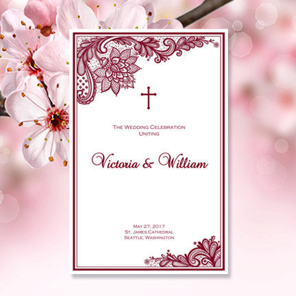 Catholic Church Wedding Program Vintage Lace Burgundy
