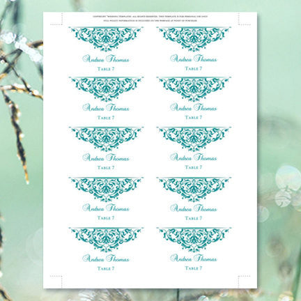 Printable Wedding Place Cards Grace Teal Flat