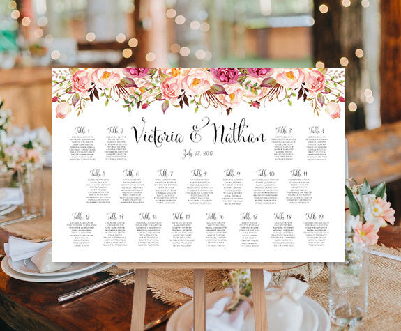 Wedding Seating Chart Poster Watercolor Floral 1 Landscape