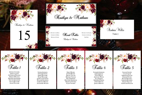 Wedding Seating Chart Set Romantic Blossoms Burgundy, Red, Blush Pink, Marsala