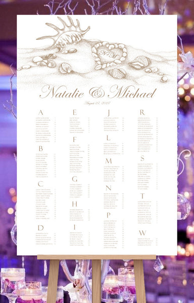 Wedding Seating Chart Poster Beach Heart Tropical