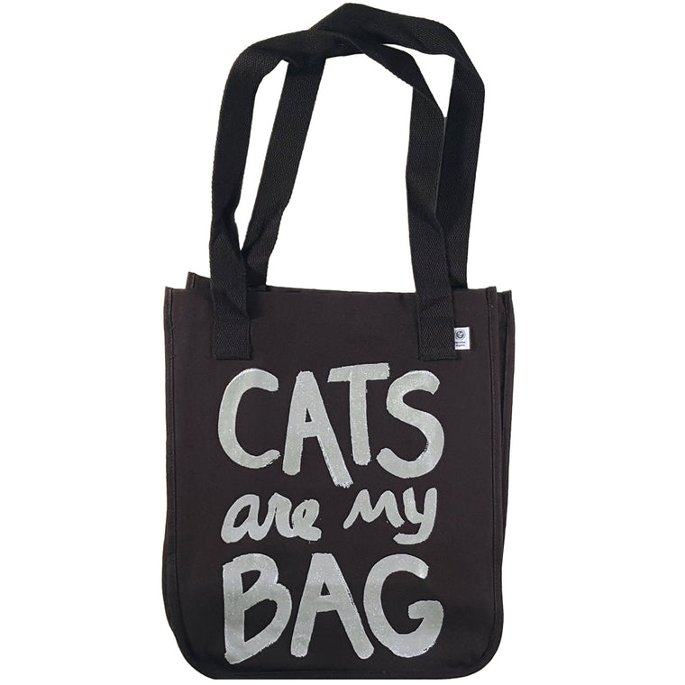 Organic Cats Are My Bag Market Tote - Black by Xenotees