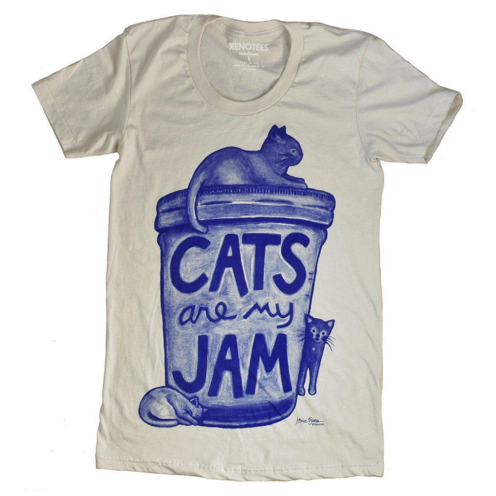 Cats are my Jam Womens T shirt by Xenotees