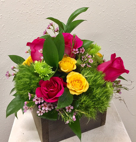 Vibrant Roses in Wood Box