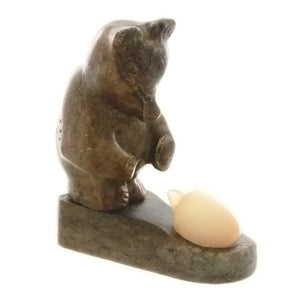 CARVING GEMSTONE CALCITE HEDGEHOG & DOLOMITE BEAR