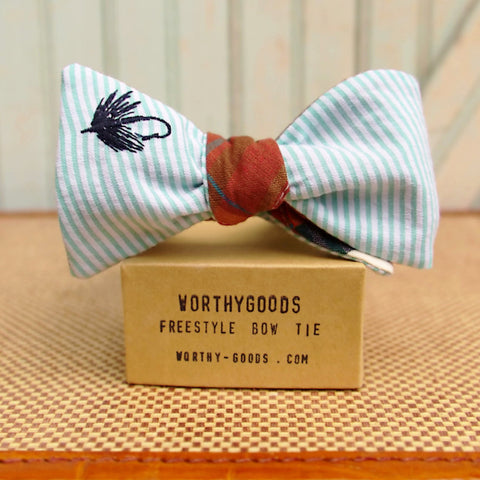Fly fishing flies bow tie specialty bow tie in Maine East Coast Style, seersucker and madras handmade by Dory Smith Graham of worthygoods in Maine. Summer wedding for fisherman!