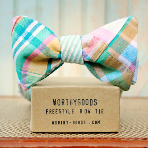Pink & mint green madras bow tie reversible to seersucker, east coast style handmade in Maine by the preppy worthygoods.