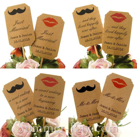 DIY Personalized Double Sided Lips & Mustache Kraft Wedding Cupcake Toppers