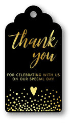 Gold Foil Hot Stamping Royale Thank You For Celebrating With Us Favor Gift Tags