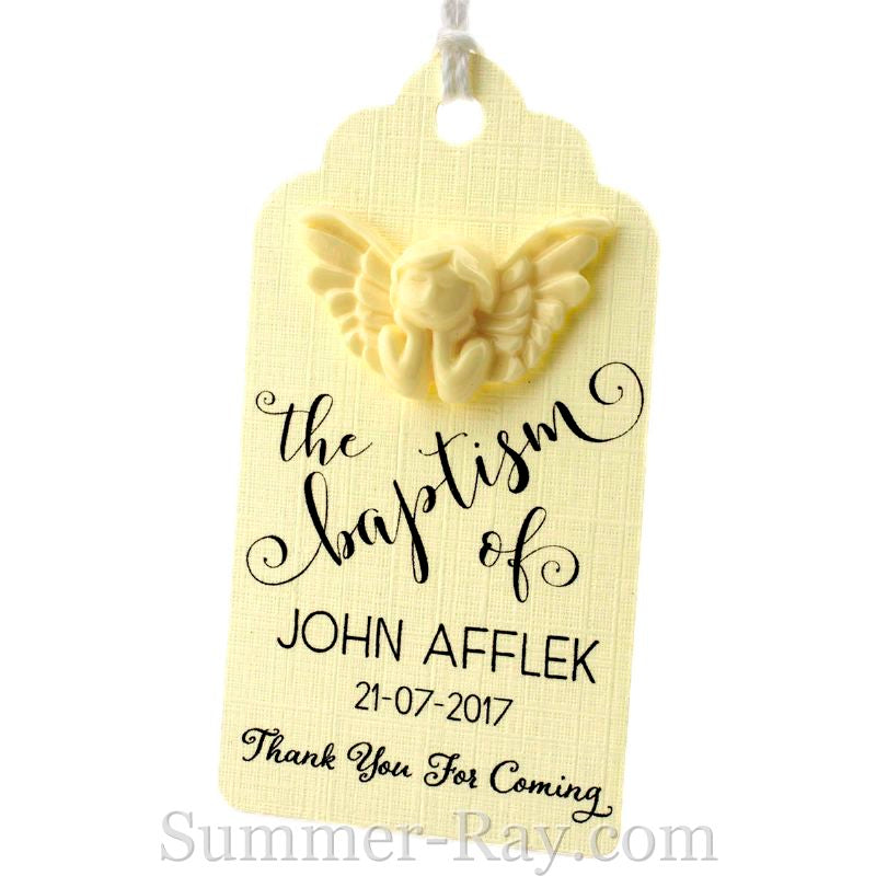 Personalized Cream Angel Royale Baptism Gift Tag