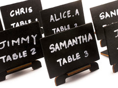 Blank Black Wooden Chalkboard Wedding Party Place Cards Escort Cards with Easels
