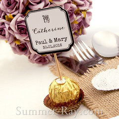 "DIY Personalized Double Sided Wedding Cupcake Toppers ""For"""