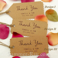Personalized Kraft Vintage Lace Wedding Favor Tags/ Thank You Tags/ Gift Tags with Twine