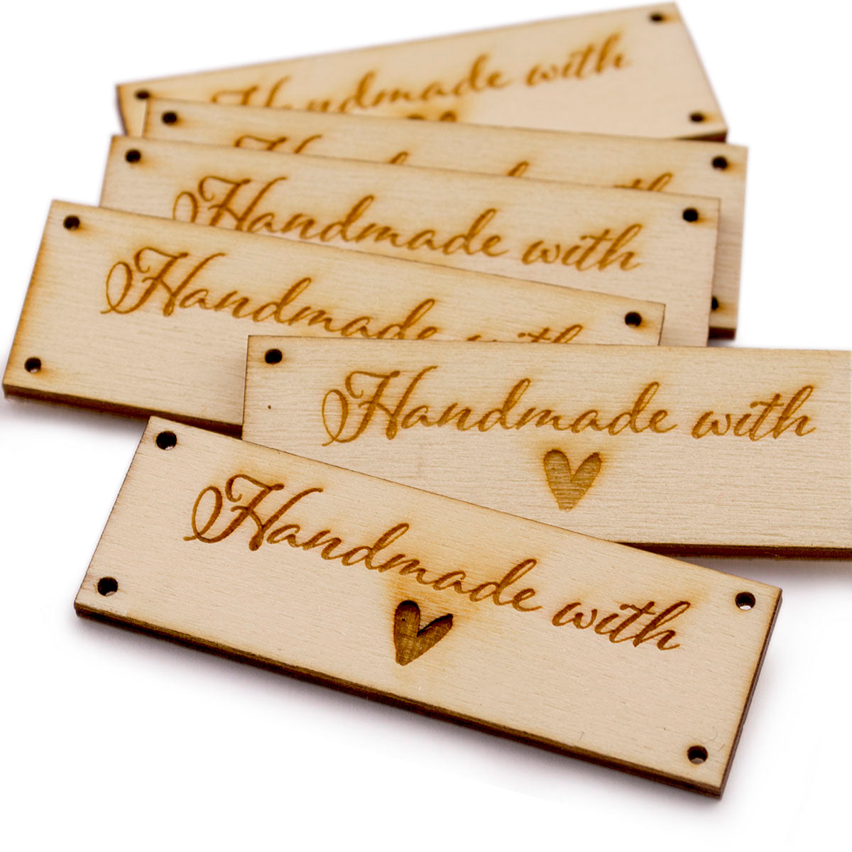 Wooden Rectangle Product Tags Handmade with Love Tags for Handmade Crochet Knitted Item