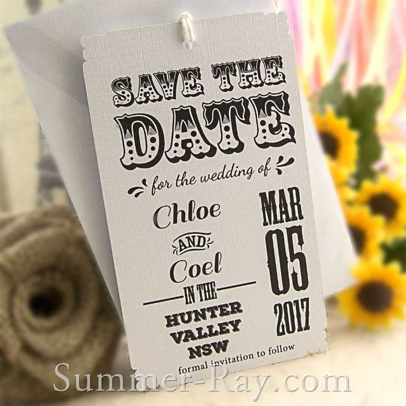 Personalized Retro Design White Save the Date Tags with Envelopes