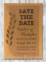 Personalized Kraft Swirled Vine Save the Date Card with Envelope