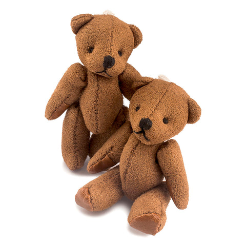 2.4 inches Mini Jointed Dark Brown Teddy Bears with Faux Leather
