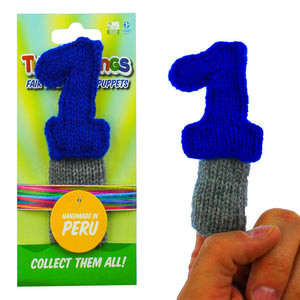 """number one"" finger puppet, handmade, fair trade, eco-friendly"