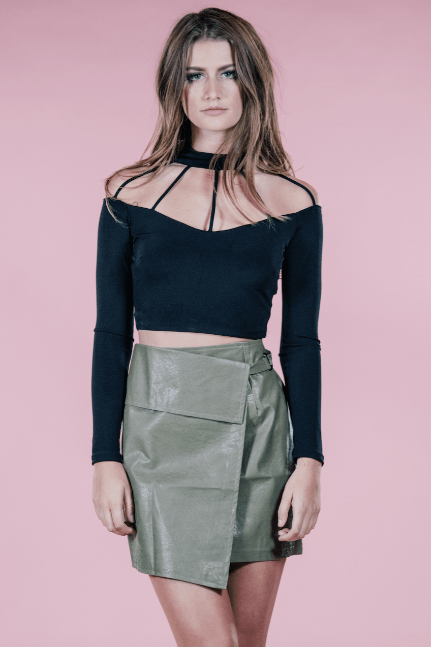 Long Sleeve Strappy Crop Top,Tops
