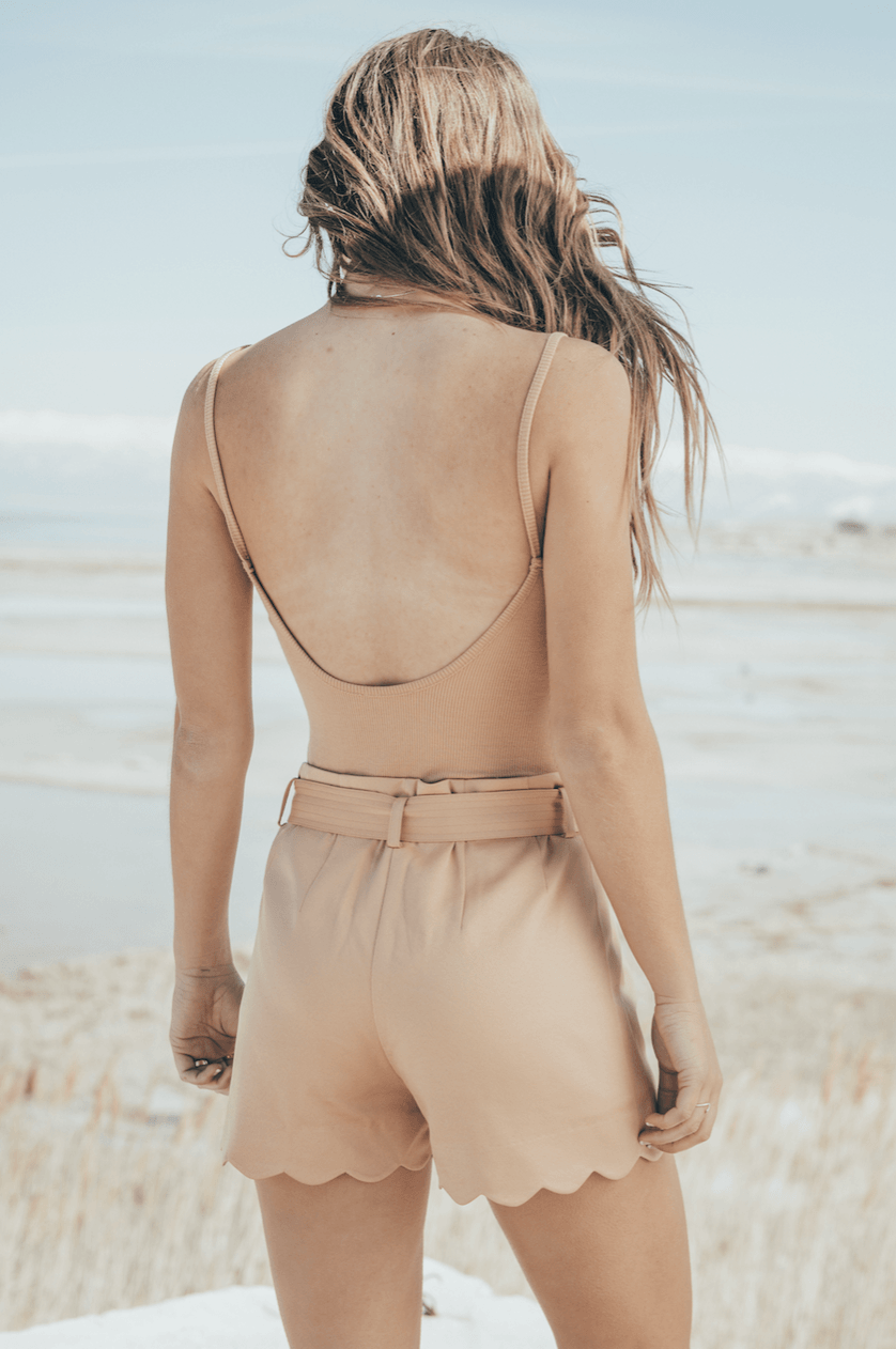 Nude Scallop Shorts,Bottoms