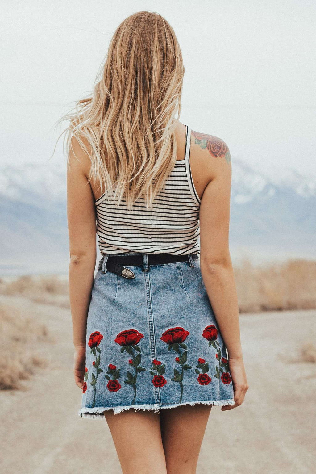 Rose Embroidered Denim Mini,Women - Apparel - Skirts - Mini