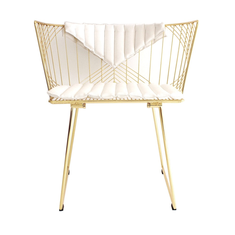 Bend Captain Chair Gold with White Bikini Cushion