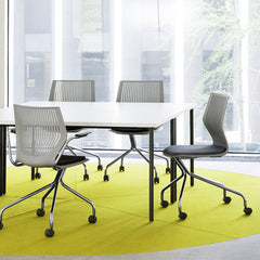 MultiGeneration Fixed Arms Grey Chrome Base Chairs Seat Cushions by Formway for Knoll at Work Table