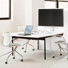 MultiGenration Fixed Arms Off White Chrome Base Chairs by Formway for Knoll Workstation