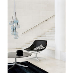 Jehs and Laub Space Chair and Table Black with Ice Pendant in Marble Lobby Fritz Hansen