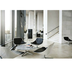 Jehs and Laub Space Chairs and Table Black in Marble Hotel Lobby Fritz Hansen