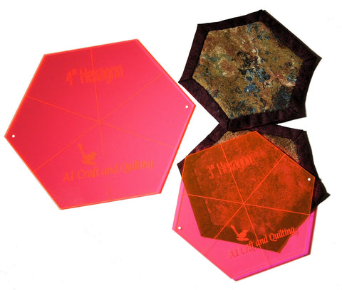 "Hexagons (3"" & 4"") for Framed Hexagon Quilt as you Go"