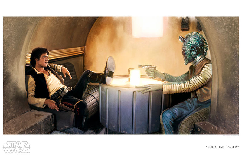"Star Wars Han Solo and Greedo ""The Gunslinger"" Giclee on Paper by Brian Rood"