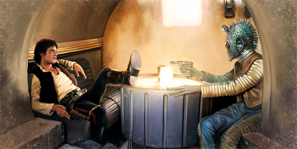 "Star Wars Han Solo and Greedo ""The Gunslinger"" Giclee on Canvas by Brian Rood"
