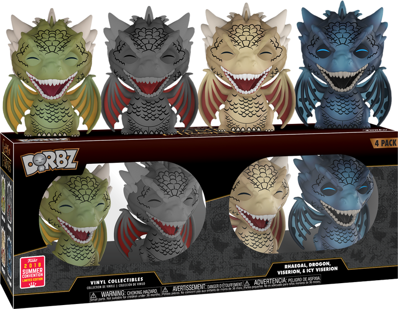 SDCC 2018 Summer Convention Exclusive Game of Thrones Dragon 4 Pack Dorbz Figures