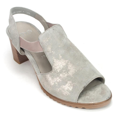 Ara Gillian Leather T-Strap Slip On Sandal Heel Shoe