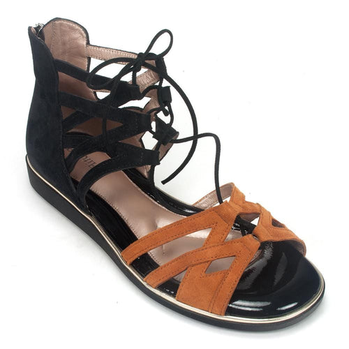BeautiFeel Women's Yuli Leather Gladiator Lace Up Sandal Shoe