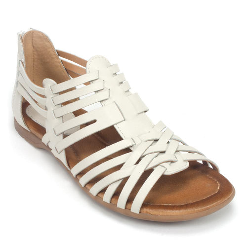 Earth Bonfire Women's Leather Woven Gladiator Zip-Up Comfy Sandal Shoe