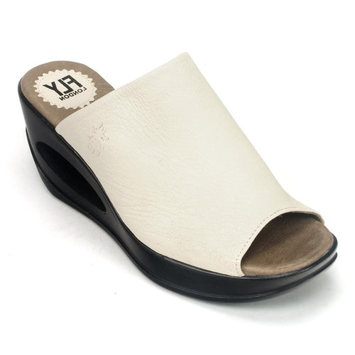 Fly London Women's Hima Leather Architectural Wedge Sandal Shoe