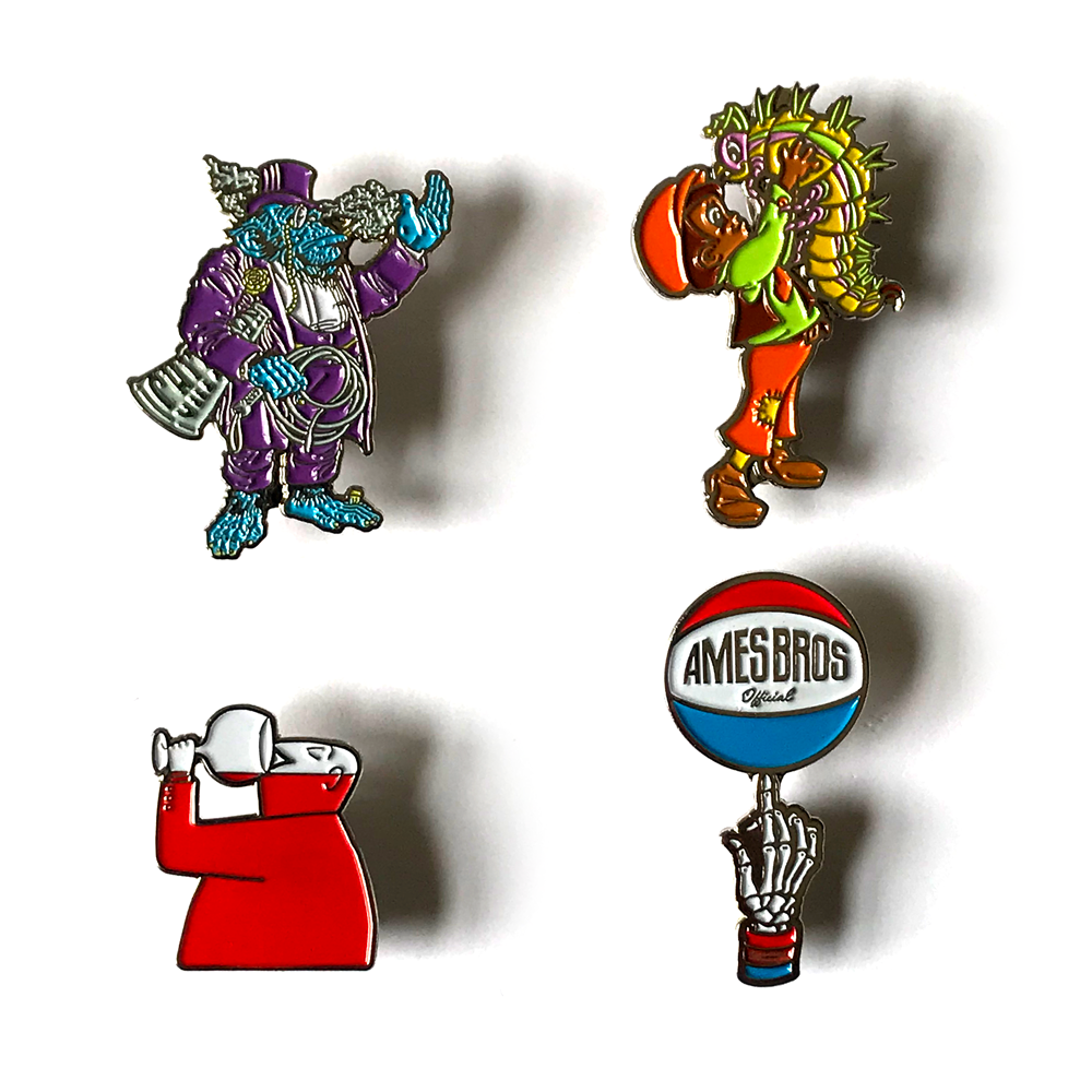 Circus Chimp, Bug Boy, Wino, and JV Squad Enamel Pin Pack