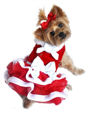 """White Christmas"" Santa Girl Velvet, Red Chiffon, White Fur, and Bows Dress"