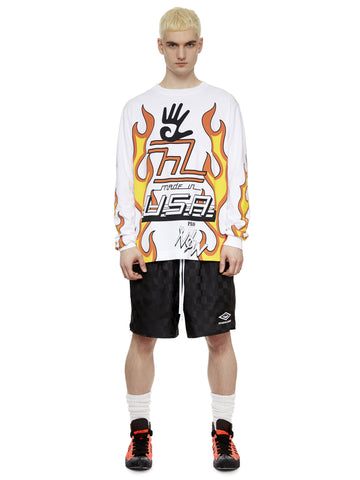 L/S Flame T-Shirt in White