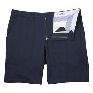 Dudley - Navy Indian Madras Herringbone Shorts