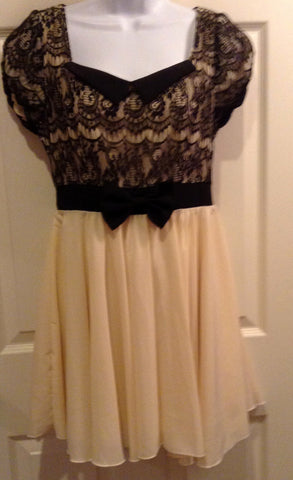 Black and creme silk and chiffon and lace dress $32
