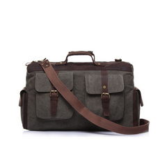 Bedo Canvas and Leather Travel Bag|Bag Teithio Canfas a Lledr Bedo