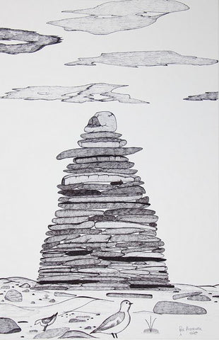Untitled (Inukshuk On The Beach) by Pee Ashevak 113 Artist from Cape Dorset, 2016