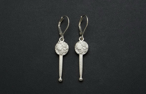 Full Moon Drop Earrings with Stick
