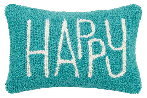 "Teal ""Happy"" Hook Pillow"