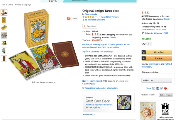 A listing for a deck of Tarot cards on Amazon