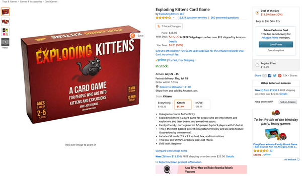 Exploding Kittens Card Game listed on Amazon for Prime Day