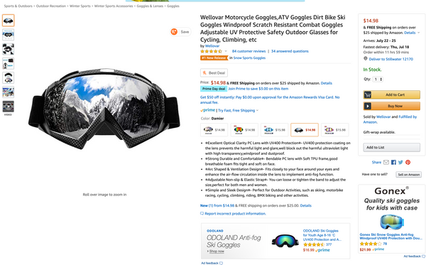 Black Motorcycle Goggles listed on Amazon Prime